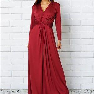 Wine Belted V-Neck Maxi Dress - Women